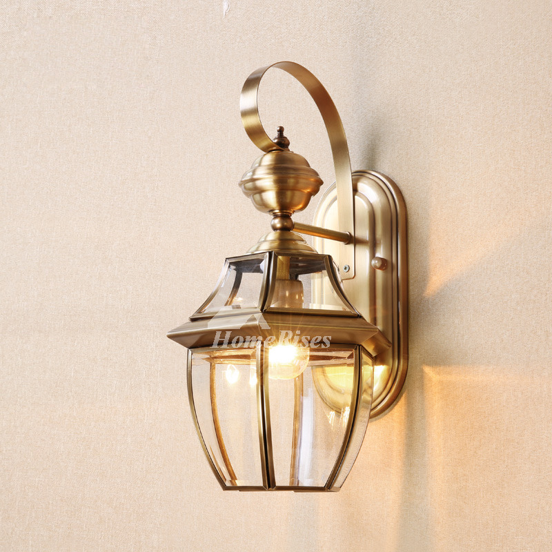 Brass Wall Sconce Glass Outdoor Decorative Lighting Unique ... on Brass Wall Sconces Non Electric Lighting id=43867