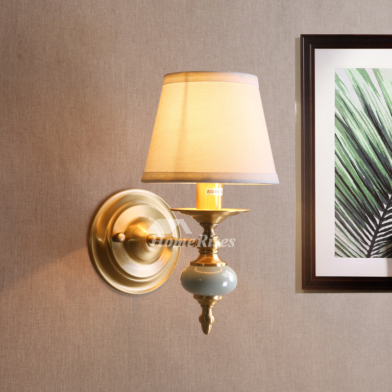 Decorative Wall Sconces Fabric Brass Rustic Lighting ... on Contemporary Wall Sconces Lighting id=74440