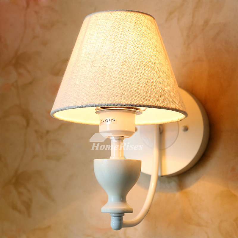 Rustic Wall Sconces Fabric White Decorative Lighting ... on Wrought Iron Sconces Wall Lighting id=49470