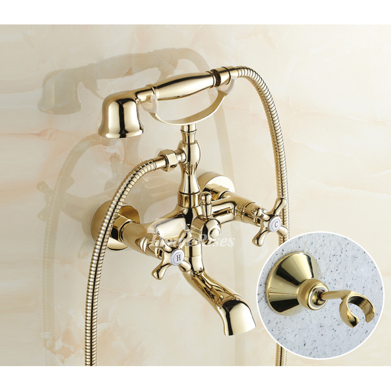 clawfoot tub faucet polished brass wall mount luxury vintage 2 handle