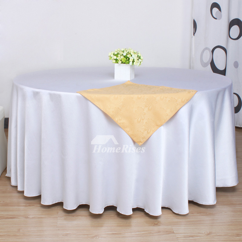 White Tablecloth PinkGray Polyester Thicken 120 Inch Round Kitchen