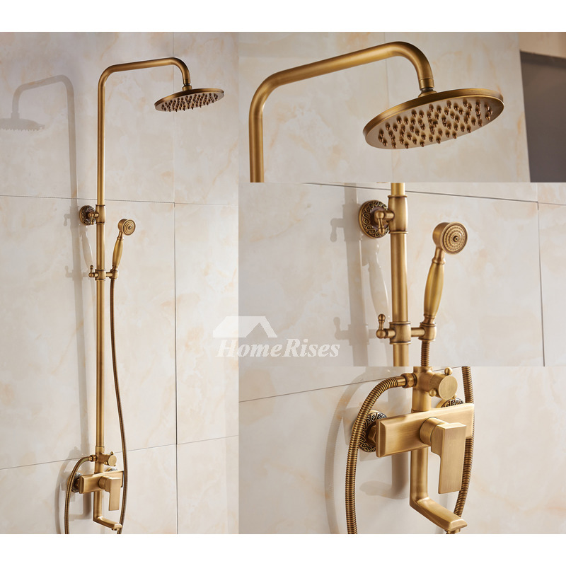 Rain Shower Faucet Wall Mount GoldBlack Antique Brass Brushed