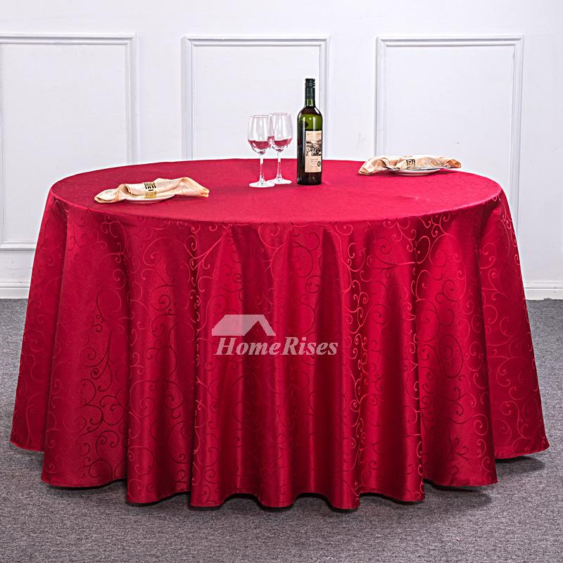 Light BrownBurgundyRedIvory 120 Inch Round Tablecloth