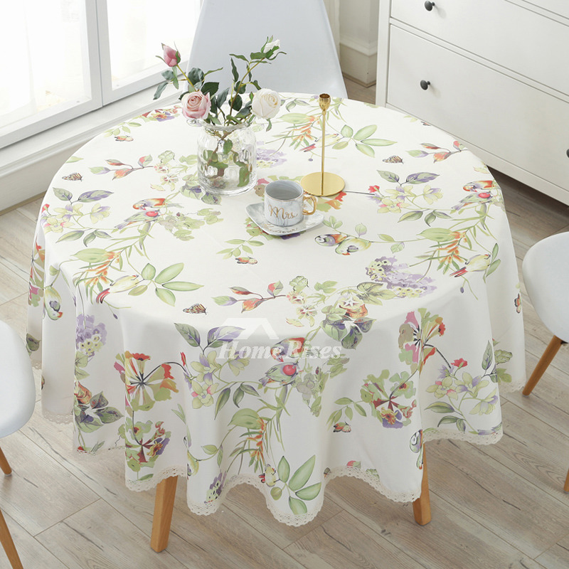 Modern Cotton Linen Cheap Tablecloths Round 70 Inch BeigeColorful
