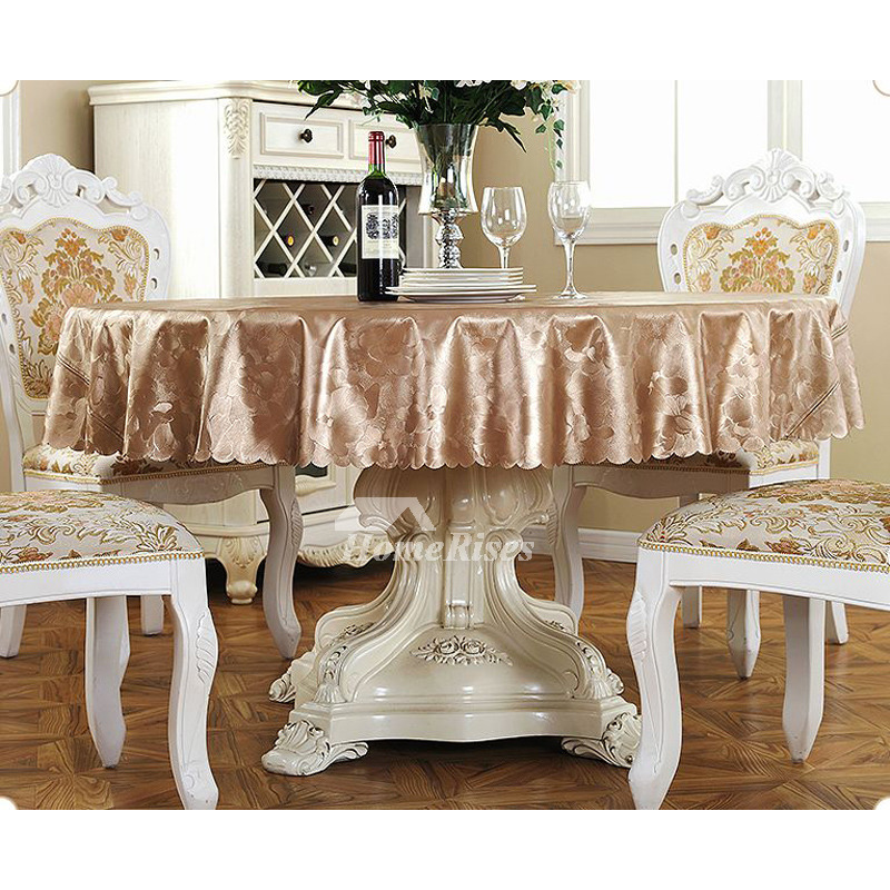 Wholesale Tablecloths Round 70 Inch Pu Waterproof Gold Brown