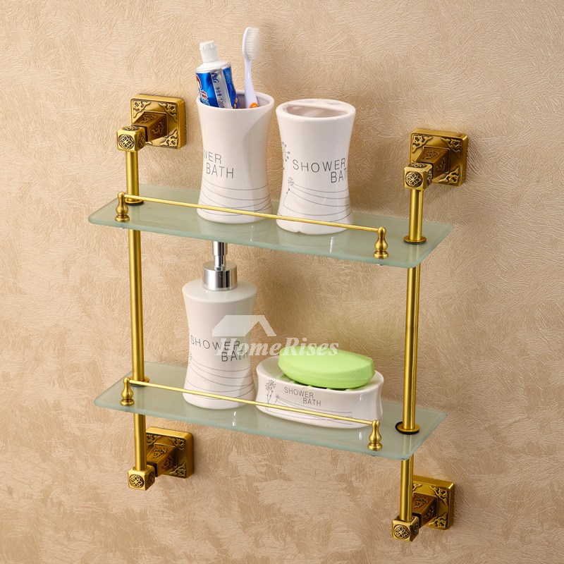 Luxury Carved Wall Mounted Gold Brass Double Glass Bathroom Shelves