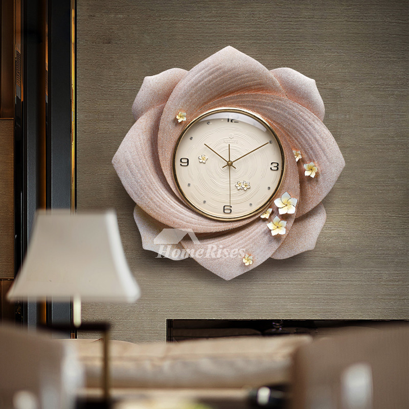 Beautiful Flower Art Deco Wall Clock Large Gold Personalized Living Room