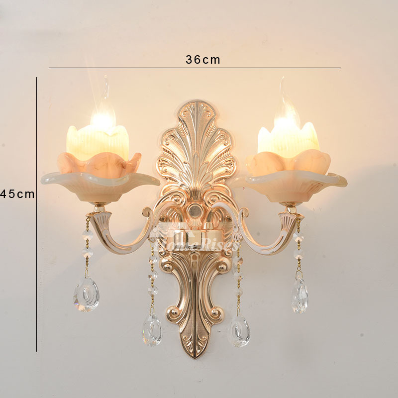 Glass Crystal Candle Wall Sconce Flower Lamp Shade ... on Candle Wall Sconces With Flowers id=68703