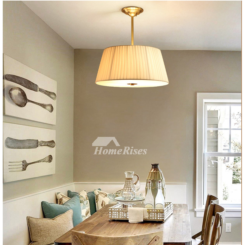 Dining Room Chandelier Ideas Study Room Modern Fabric Light Shade Solid Brass Round Ceiling Lights