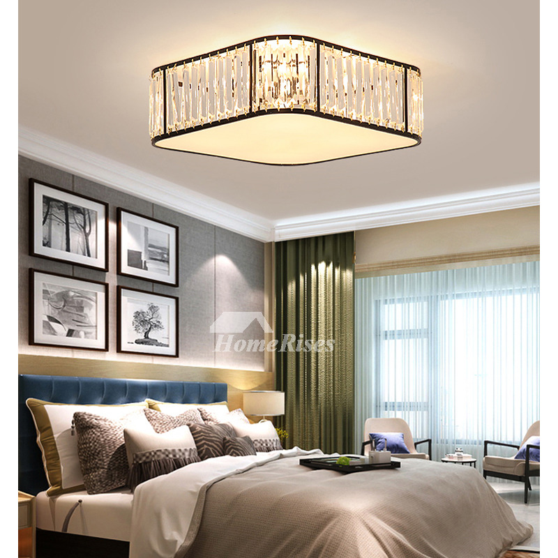 Square Ceiling Light Fixture Flush Mount Crystal Contemporary Drop Install Bedroom New Led Kitchen