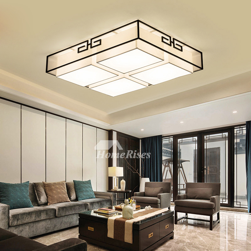 Rectangular Fabric Ceiling Light Living Room Simple Modern Chinese Style Square Wrought Iron