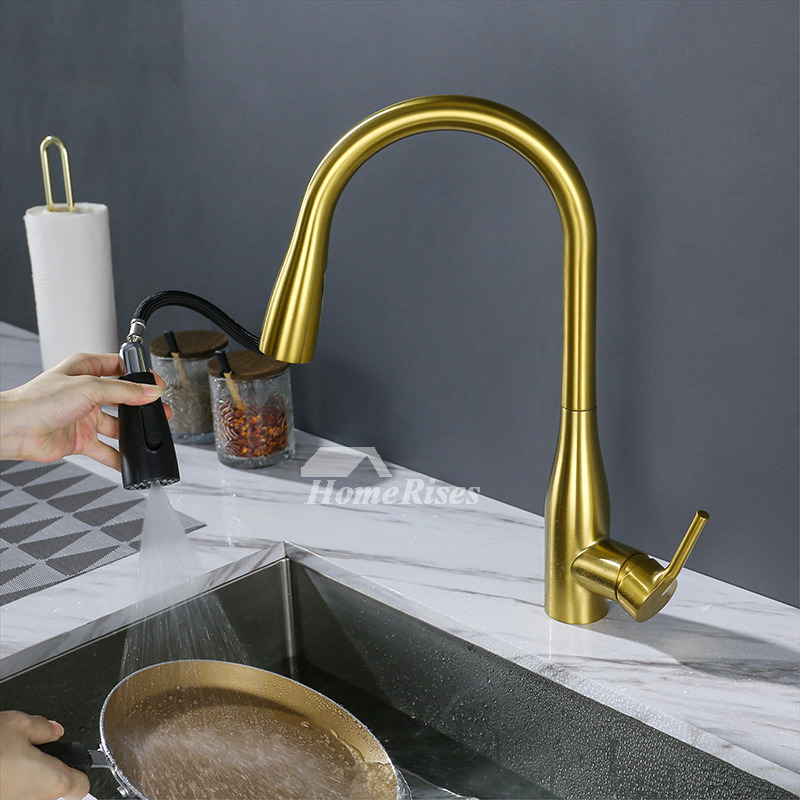 brass pull down sprayer kitchen sink faucet brushed gold single handle 360 swivel pullout