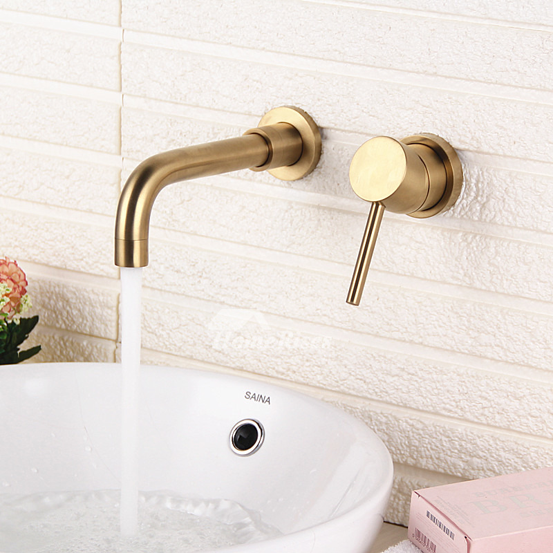 rotatable brushed gold chrome brass bathroom sink faucet wall mounted 2 hole widespread modern
