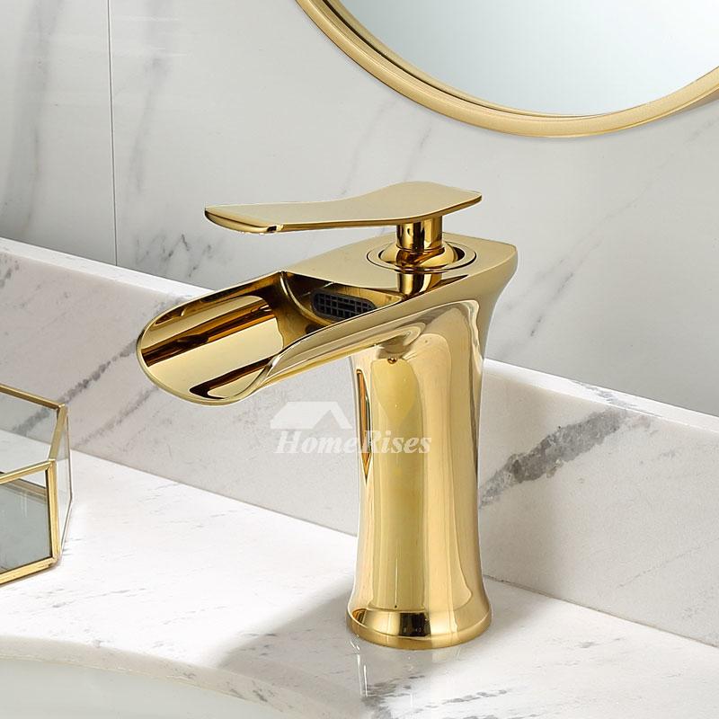 gold black white brass single hole bathroom sink faucet waterfall best luxury
