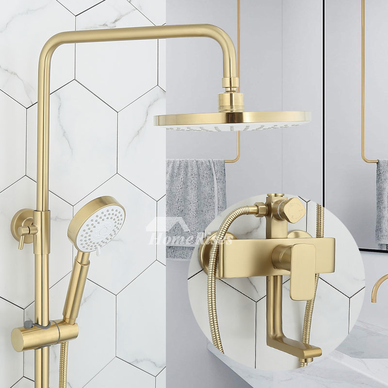 brushed brass gold shower fixtures full body wall mount tub faucet with hand shower luxury
