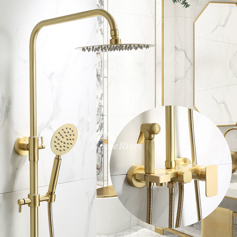 shower spa system brushed gold brass luxury wall mount multi function best shower faucets