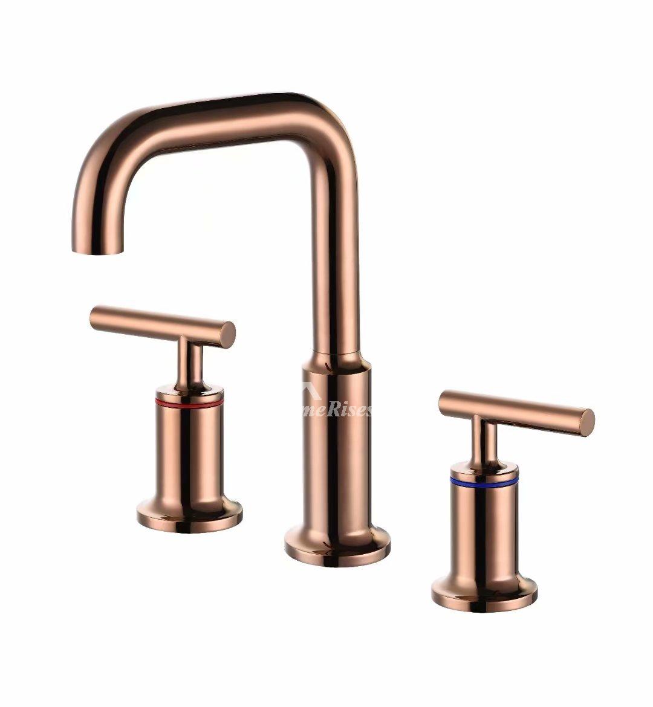 3 hole bathroom sink faucets brushed gold polished brass bronze matte black rose red