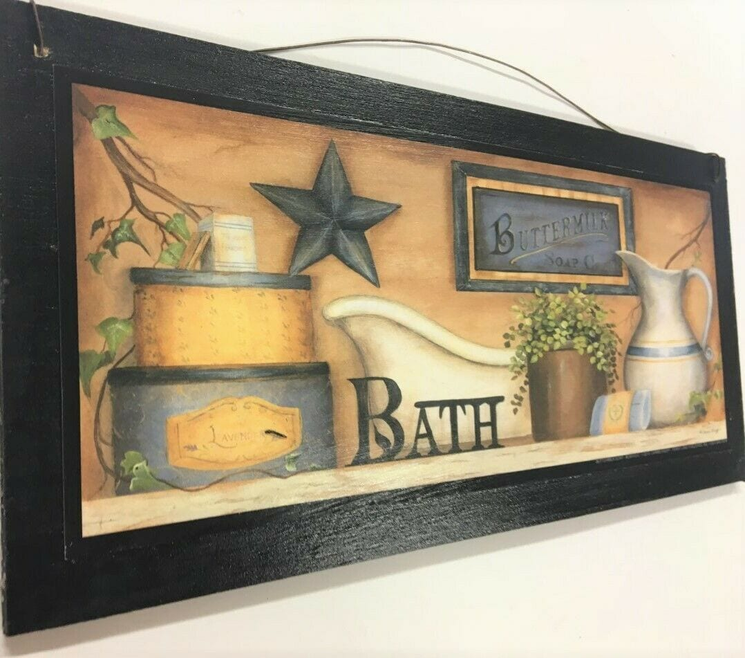 Country Bath Blue Star Outhouse Bathroom Home Decor Wooden