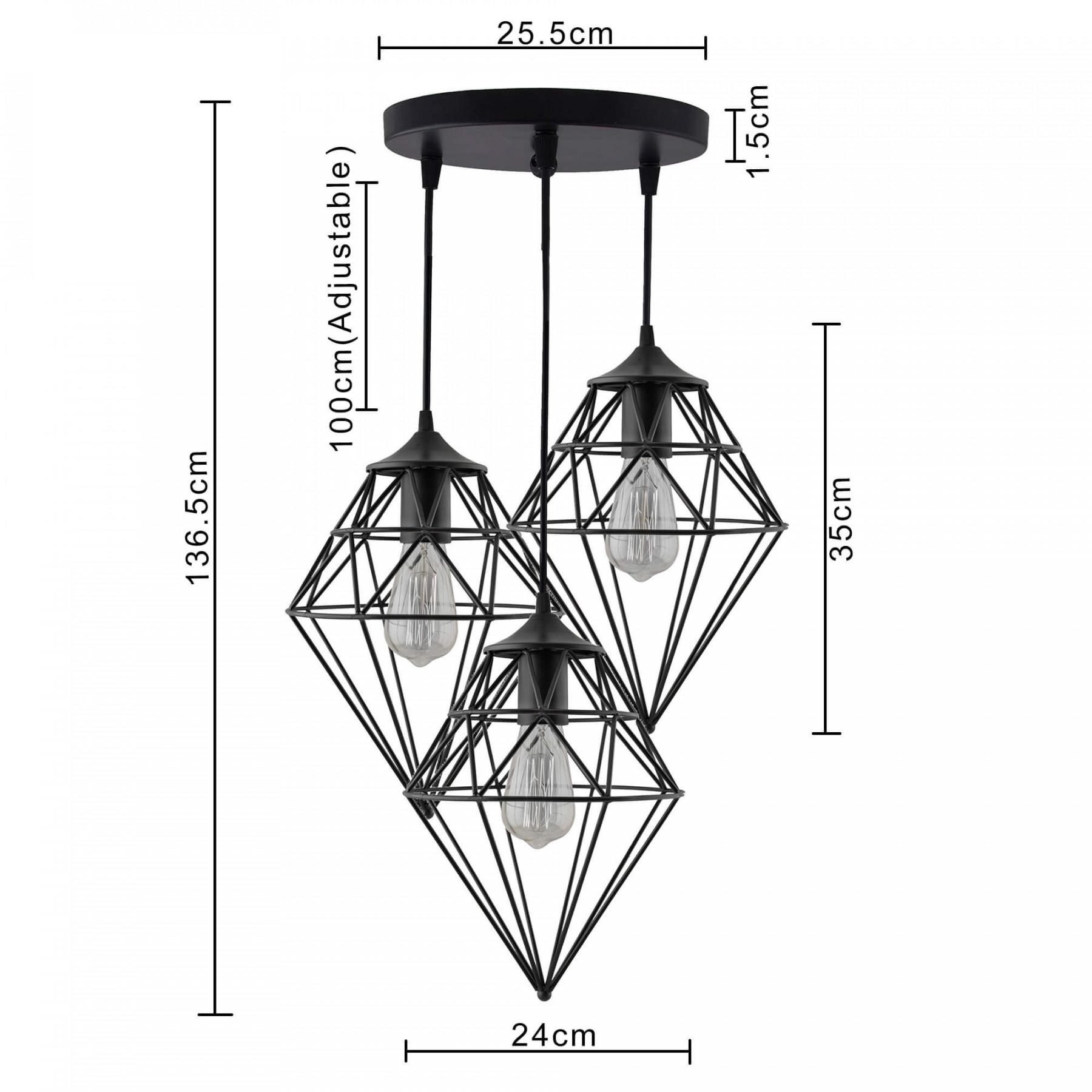 3 Lights Round Cluster Chandelier Hanging Classic Gem
