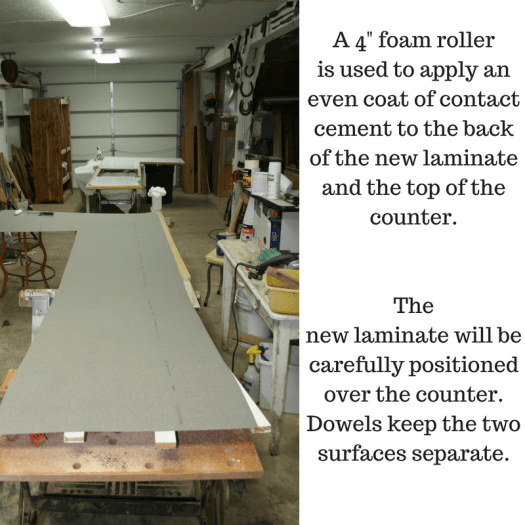 The new laminate suface and the old counter are ready for the contact cement.
