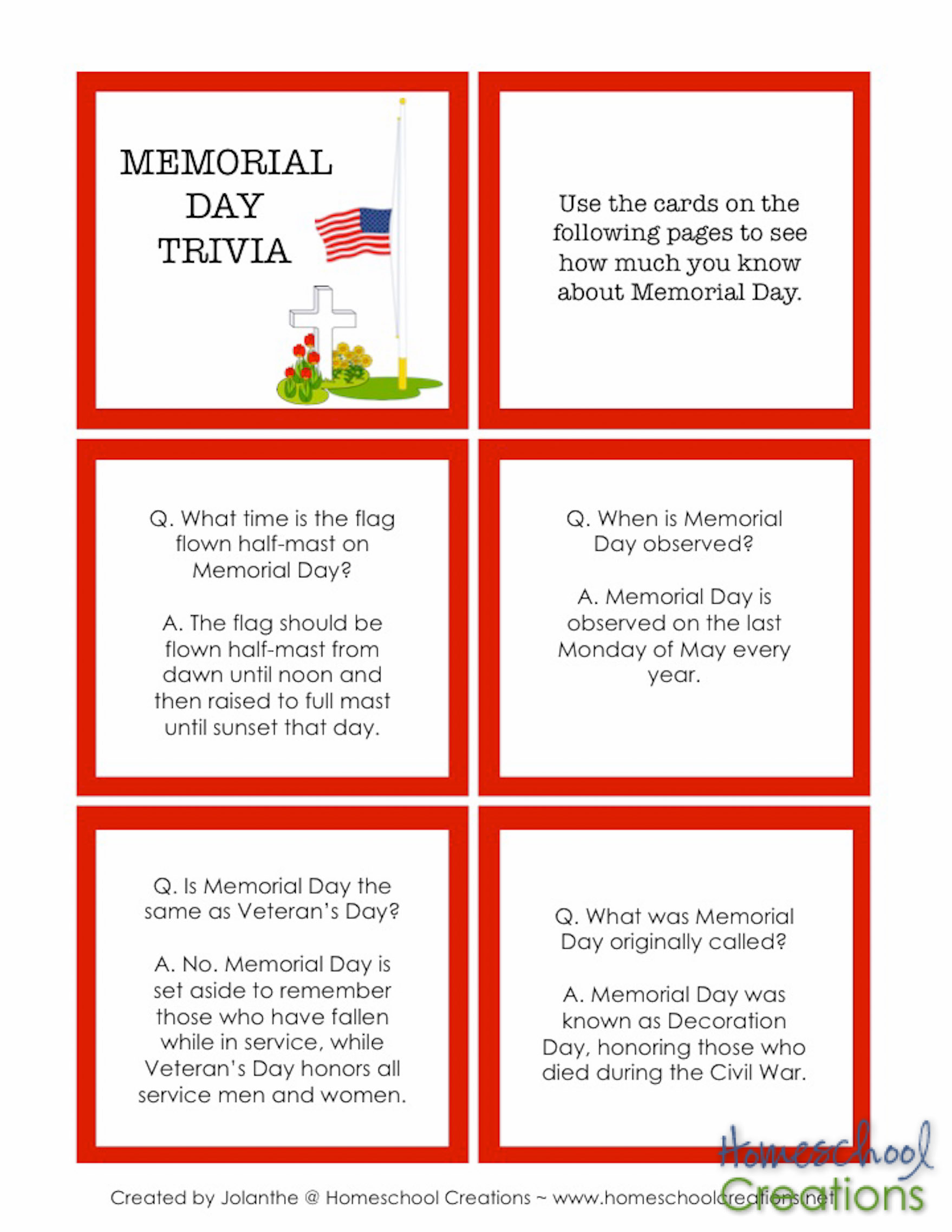 Memorial Day Printables From Homeschool Creations 4