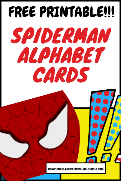 spiderman alphabet cards