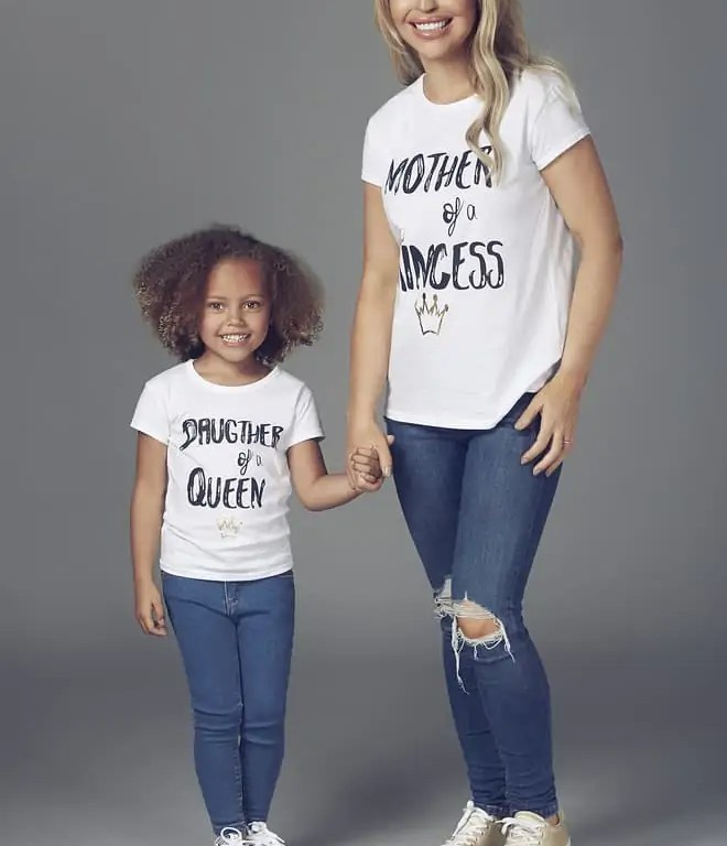 """Katie Piper Matching """"Mother of a Princess"""" White T-shirt & Katie Piper Matching Children's """"Daughter of a Queen"""" White T-shirt"""