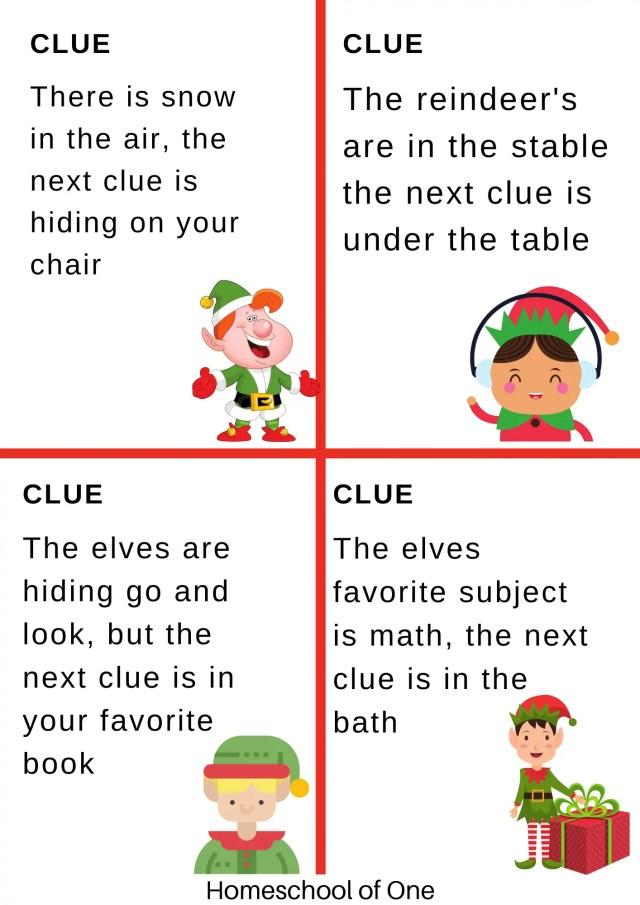 Elf scavenger hunt clues