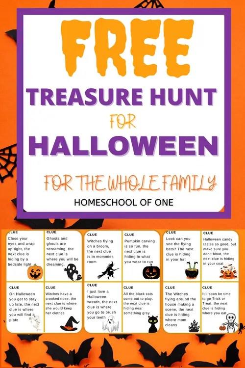 Free Halloween Treasure Hunt Printable for kids