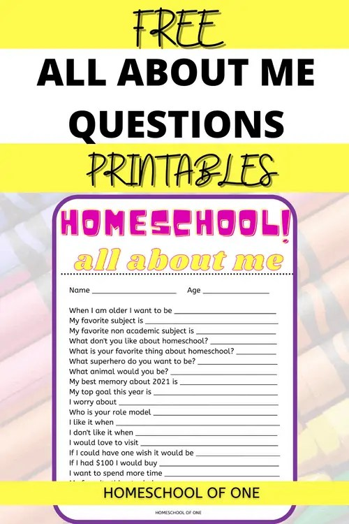 All about me questions for kids free printable