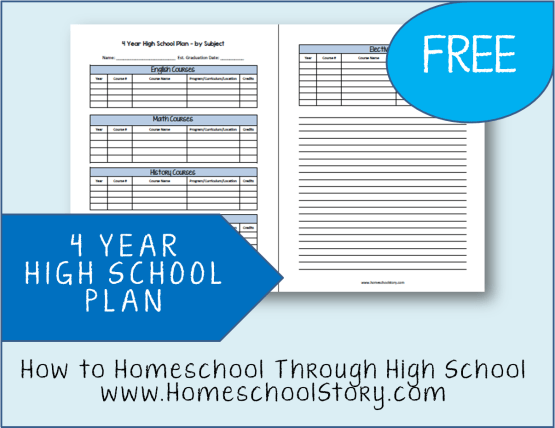 FREE 4 Year High School Plan - Worksheet from HomeschoolStory.com