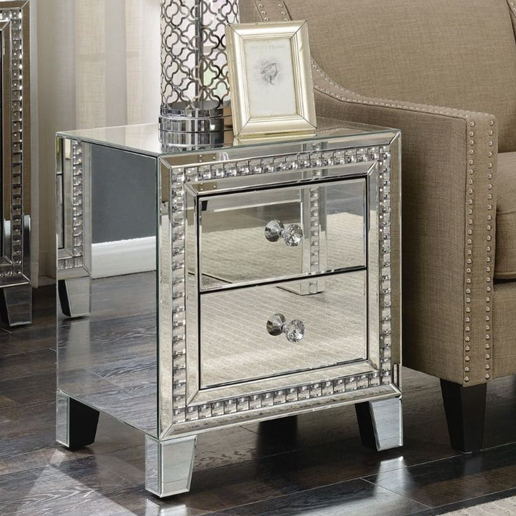 Loughton Mirror 2 Drawer Bedside Table Mirror Bedside