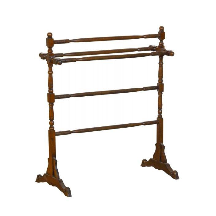 mahogany free standing towel rail