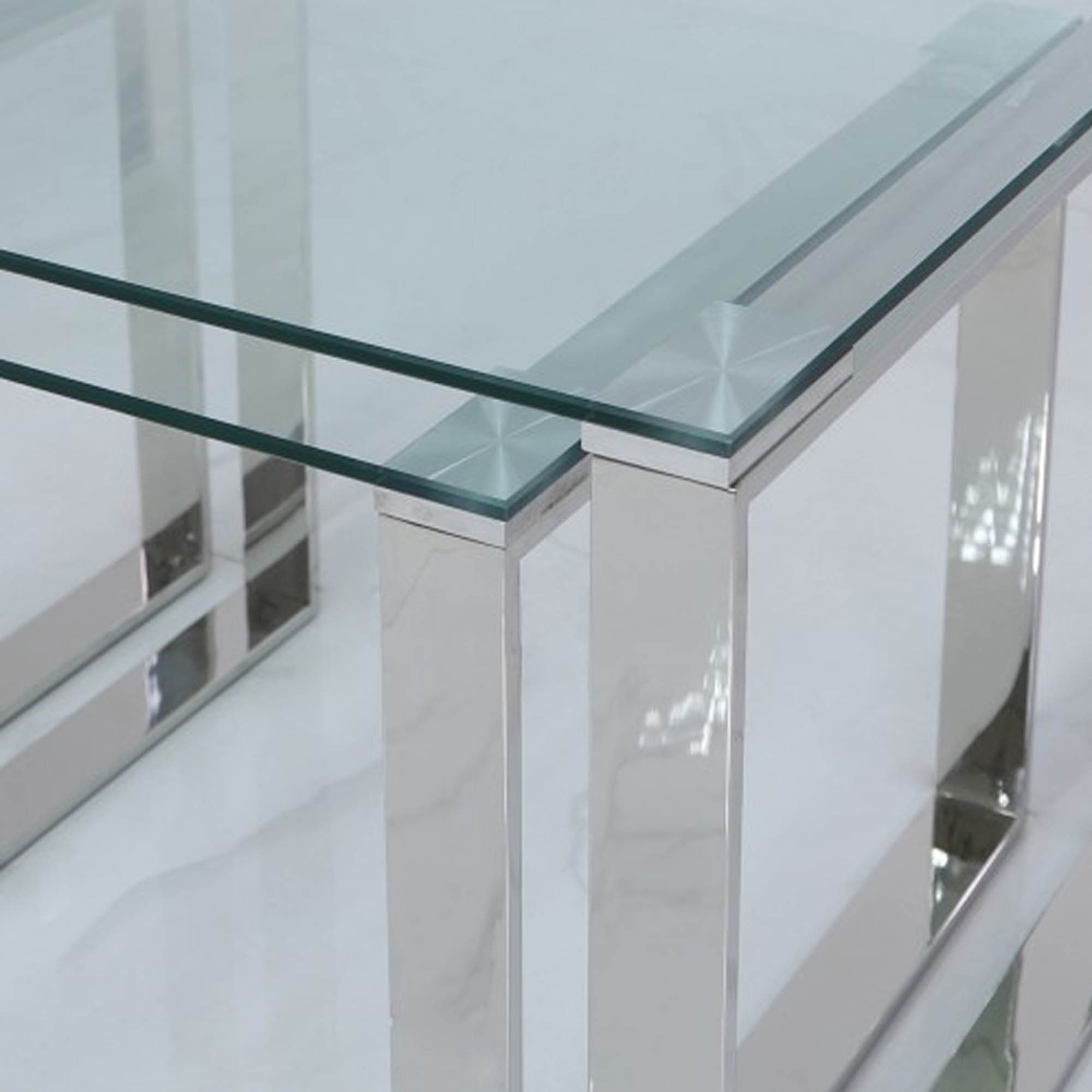 set of 3 harry steel and clear glass end tables