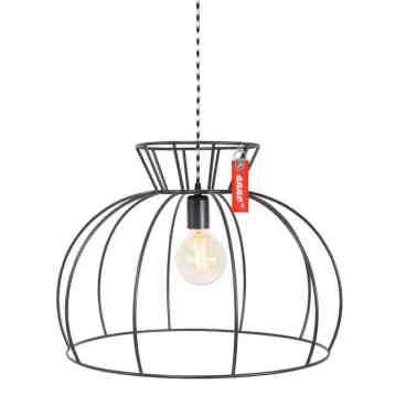 Anne Lighting | Anne Crinoline Grijs | Stoere industriële draadlamp van metaal | www.homeseeds.nl #verlichting # industrieel # draadlamp