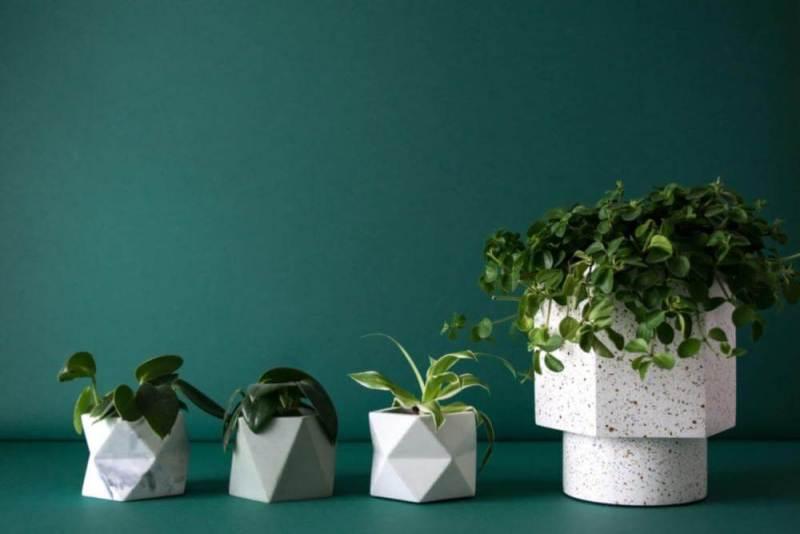geometrische bloempotjes van beton