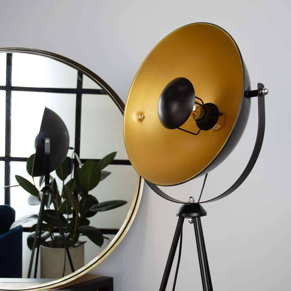 Vloerlamp Fallon zwart goud hippe vloerlamp