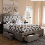 Baxton Studio Aurelie Modern Contemporary Light Grey Fabric Upholstered King Size Storage Bed Cf8622 D