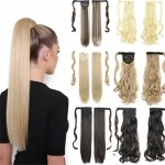 Long Straight Wrap Around Clip In Ponytail Hair Extension Heat Resistant Synthetic Pony Tail Fake Hair