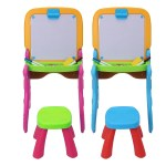 2 in 1 Folding Drawing Board Table Set with a Kid-Sized Stool Plastic Magnetic Writing White Board Ideal for Children Bedroom Play Area