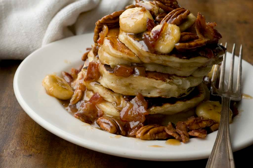 Banana, bacon, and pecan pancakes | Homesick Texan