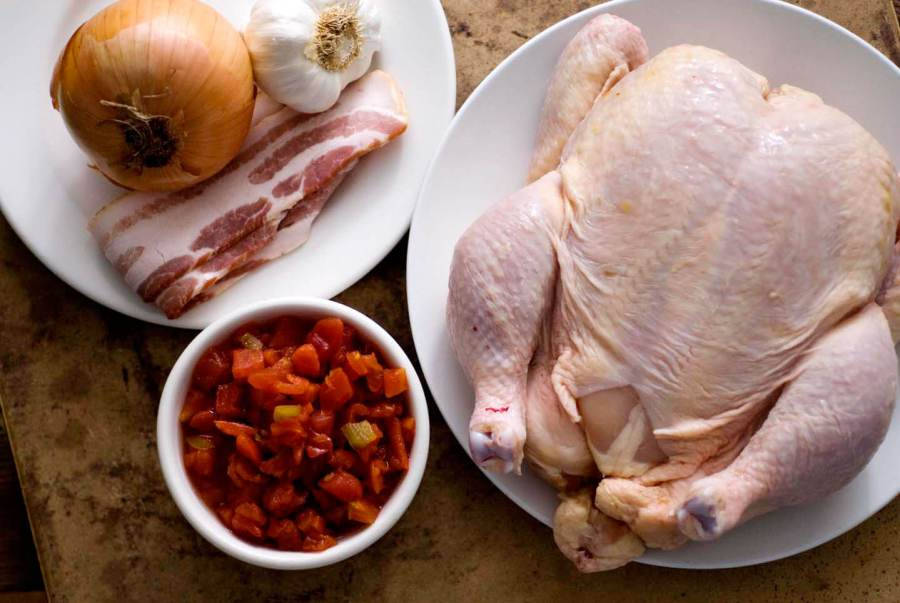 Roast chicken with bacon, tomatoes, and green chiles | Homesick Texan