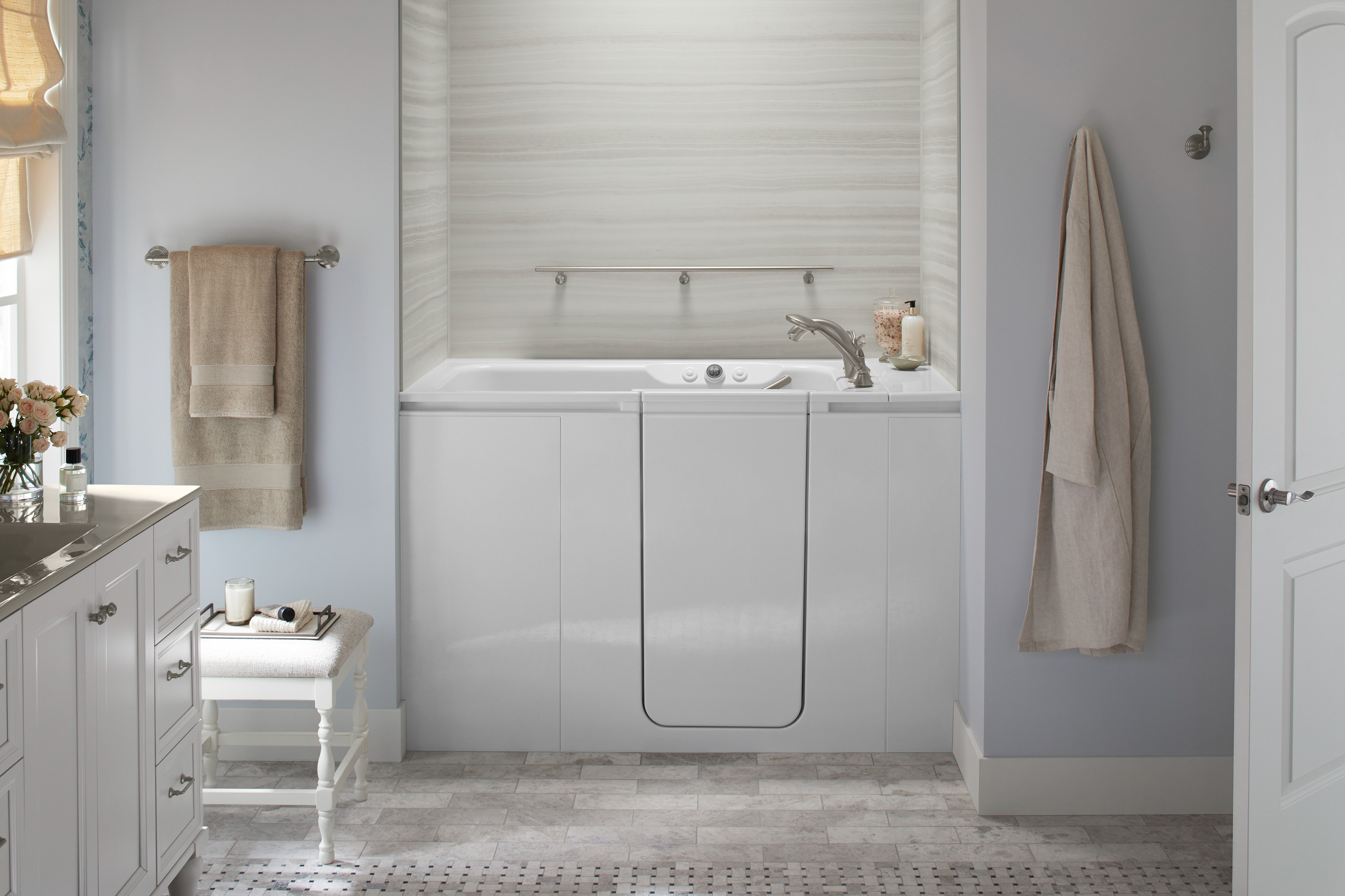 Kohler Walk In Bath Tub Features Safety Therapy Convenience