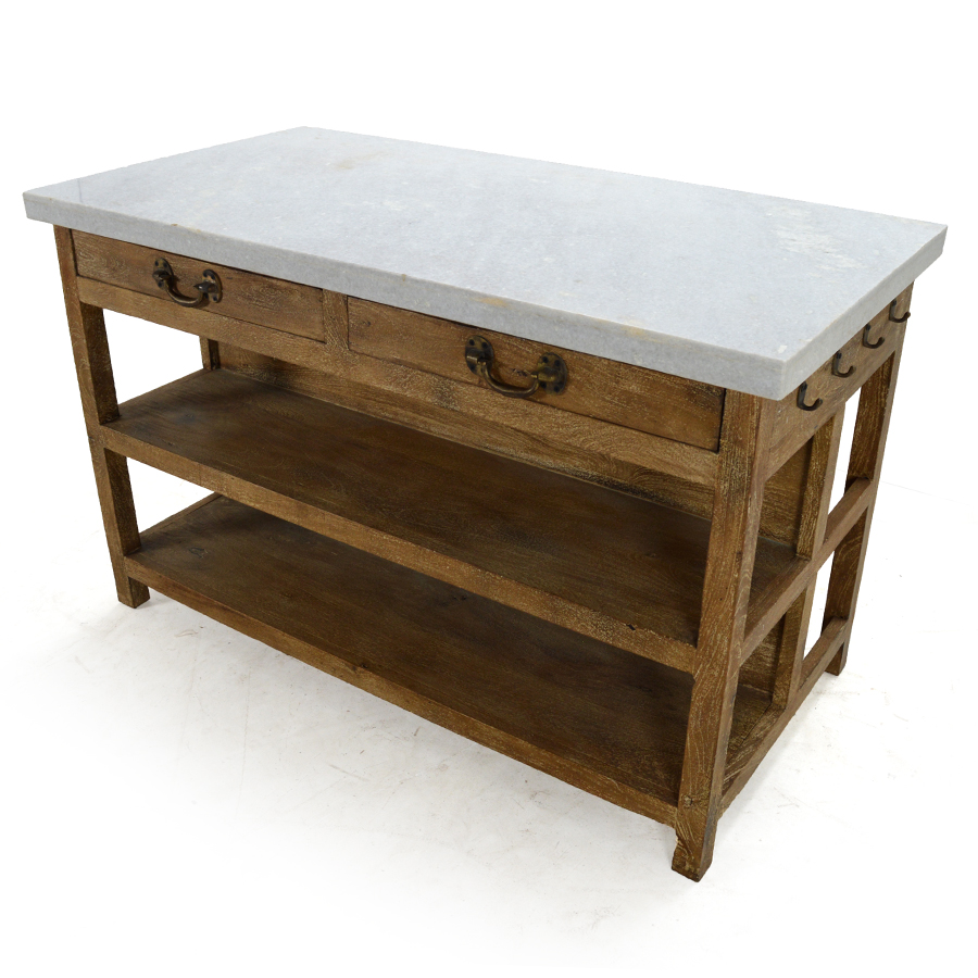 Doyle Kitchen Island Sundried Natural With Marble Top Home Decor