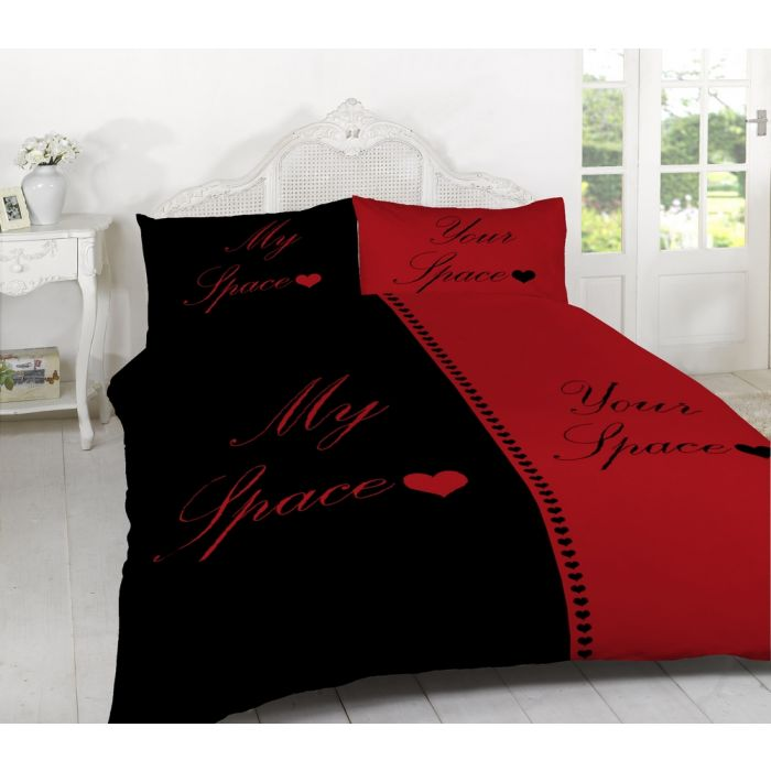 my space your space duvet cover set red black