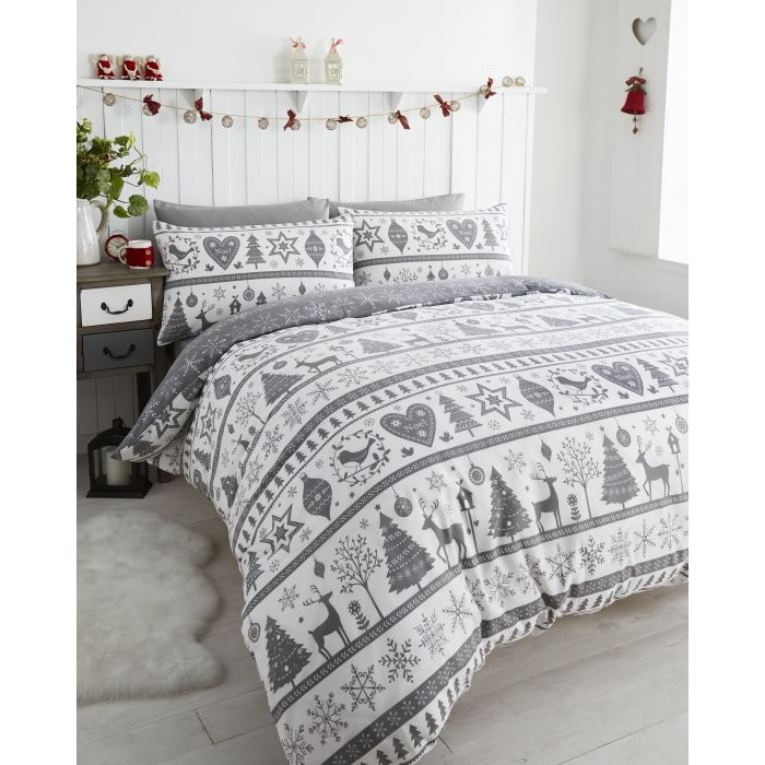 noel duvet cover set grey super king bed