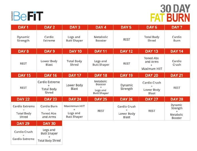 BeFit 30 Day Calendar