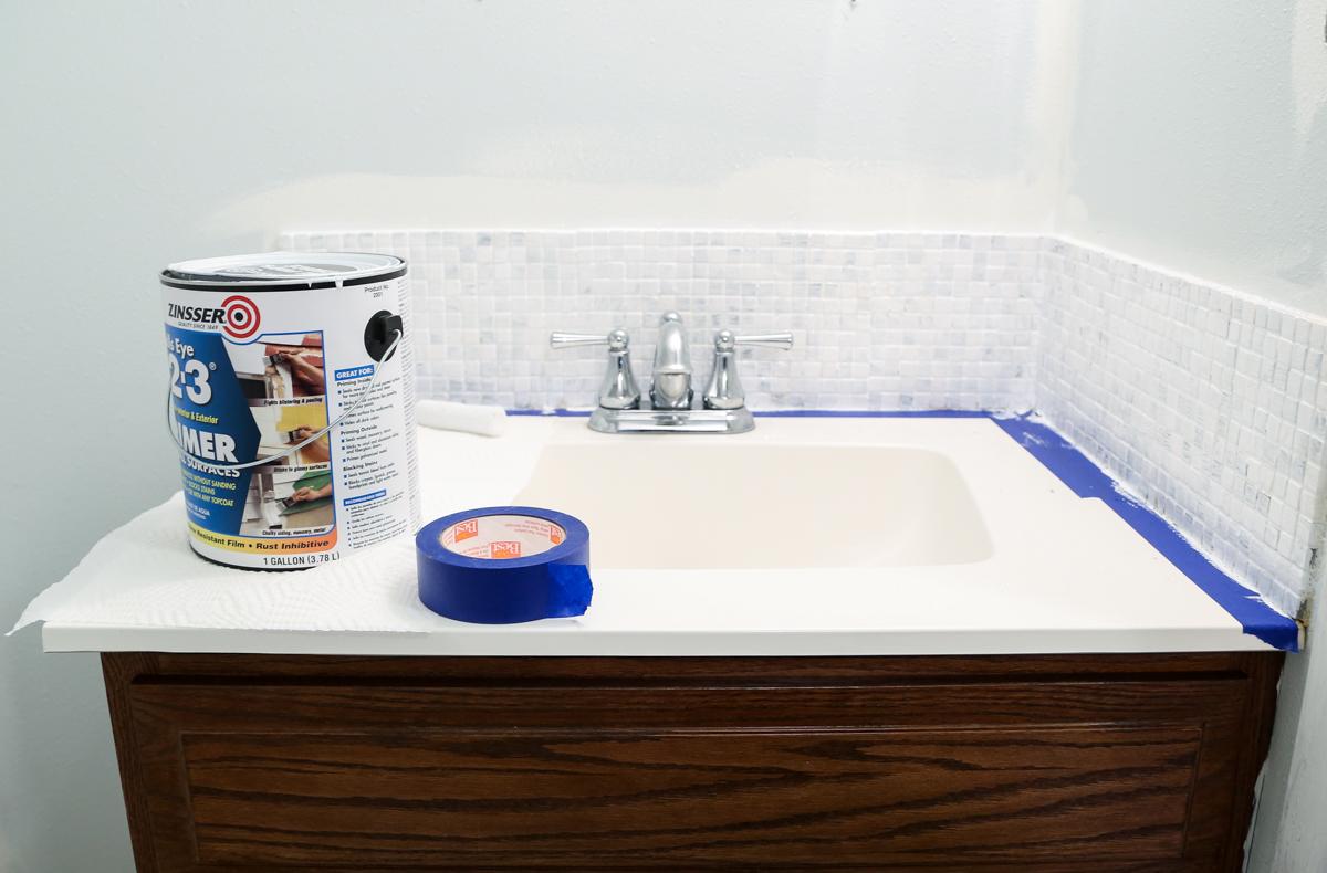 updated bathroom tile backsplash diy