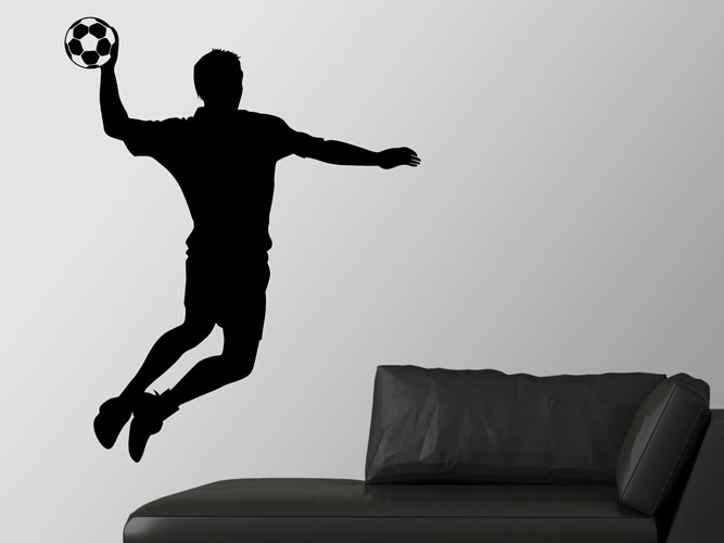 wandtattoo handballer im sprung bei