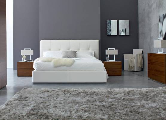 SWANI BED AND CITY BEDSIDE TABLES BY CALLIGARIS